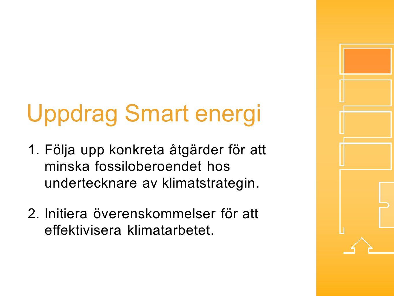 Uppdrag Smart energi 1.Följa upp konkreta åtgärder för att minska fossiloberoendet hos undertecknare av klimatstrategin. 2.Initiera överenskommelser f