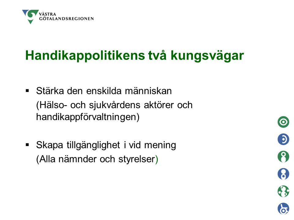 Handikappkommittén  Företräda människor med varaktiga funktionshinder  motor för regionens arbete med handikappfrågorna inom respektive sektor/verksamhet  kunskapsspridare  stimulera till utveckling i Västra Götaland