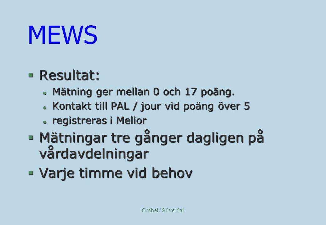 Gräbel / Silverdal MEWS §Resultat: l Mätning ger mellan 0 och 17 poäng.