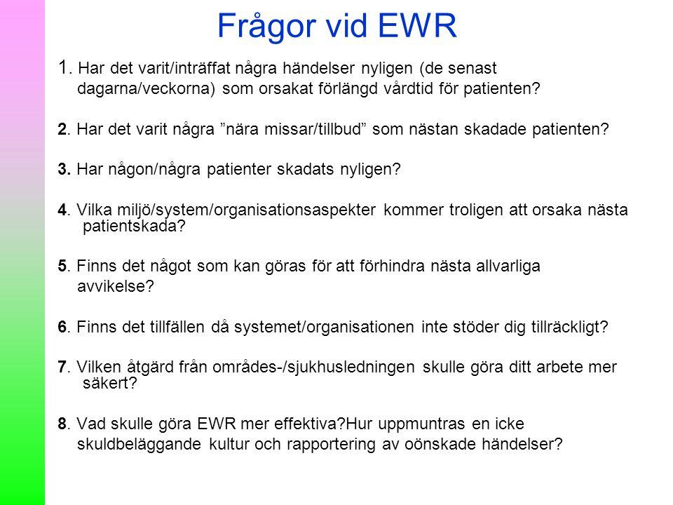 Frågor vid EWR 1. Har det varit/inträffat några händelser nyligen (de senast dagarna/veckorna) som orsakat förlängd vårdtid för patienten? 2. Har det