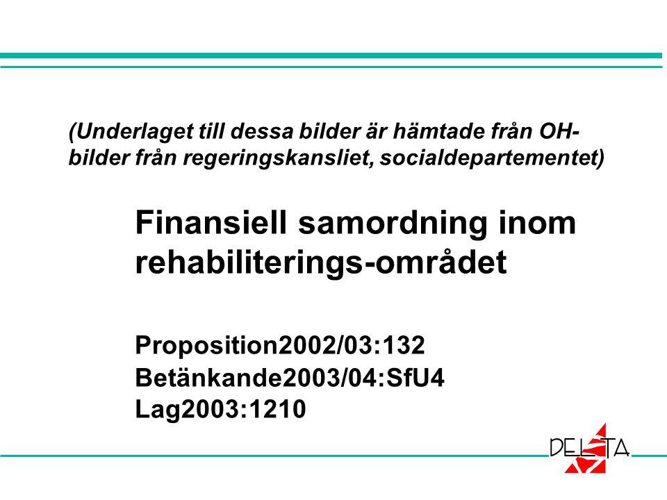 (Underlaget till dessa bilder är hämtade från OH- bilder från regeringskansliet, socialdepartementet) Finansiell samordning inom rehabiliterings-området Proposition2002/03:132 Betänkande2003/04:SfU4 Lag2003:1210