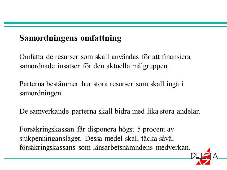 Samordningens omfattning Omfatta de resurser som skall användas för att finansiera samordnade insatser för den aktuella målgruppen.