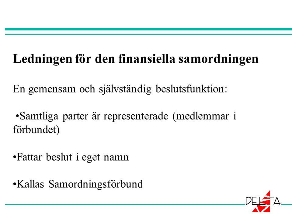 Ledningen för den finansiella samordningen En gemensam och självständig beslutsfunktion: Samtliga parter är representerade (medlemmar i förbundet) Fattar beslut i eget namn Kallas Samordningsförbund