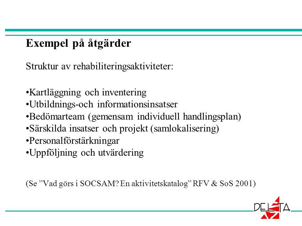 Exempel på åtgärder Struktur av rehabiliteringsaktiviteter: Kartläggning och inventering Utbildnings-och informationsinsatser Bedömarteam (gemensam individuell handlingsplan) Särskilda insatser och projekt (samlokalisering) Personalförstärkningar Uppföljning och utvärdering (Se Vad görs i SOCSAM.