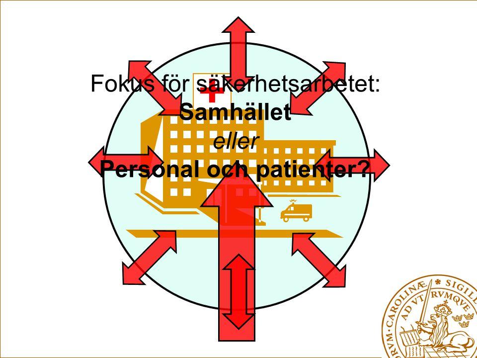 + Fokus för säkerhetsarbetet: Samhället eller Personal och patienter?