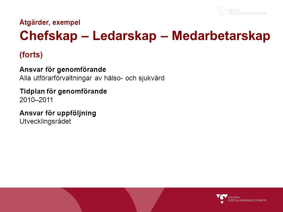 Ansvar för genomförande Alla utförarförvaltningar av hälso- och sjukvård Tidplan för genomförande 2010–2011 Ansvar för uppföljning Utvecklingsrådet Åt