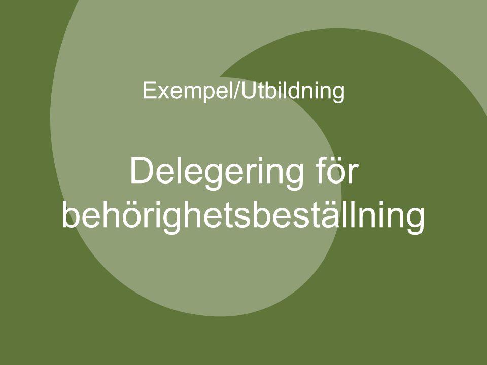 Exempel/Utbildning Delegering för behörighetsbeställning