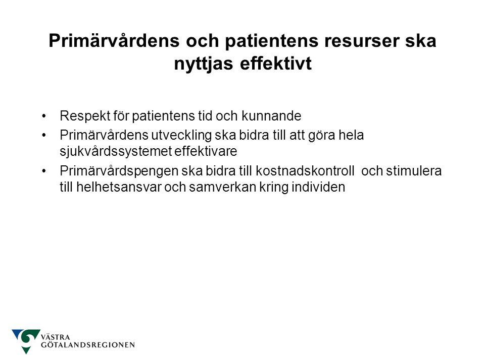 Primärvårdens och patientens resurser ska nyttjas effektivt Respekt för patientens tid och kunnande Primärvårdens utveckling ska bidra till att göra hela sjukvårdssystemet effektivare Primärvårdspengen ska bidra till kostnadskontroll och stimulera till helhetsansvar och samverkan kring individen