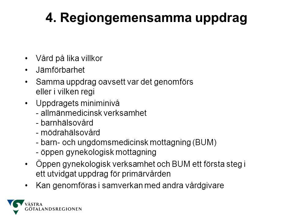 4. Regiongemensamma uppdrag Vård på lika villkor Jämförbarhet Samma uppdrag oavsett var det genomförs eller i vilken regi Uppdragets miniminivå - allm