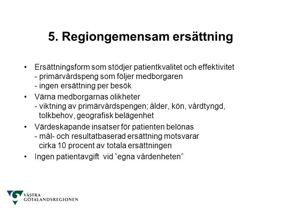 5. Regiongemensam ersättning Ersättningsform som stödjer patientkvalitet och effektivitet - primärvårdspeng som följer medborgaren - ingen ersättning