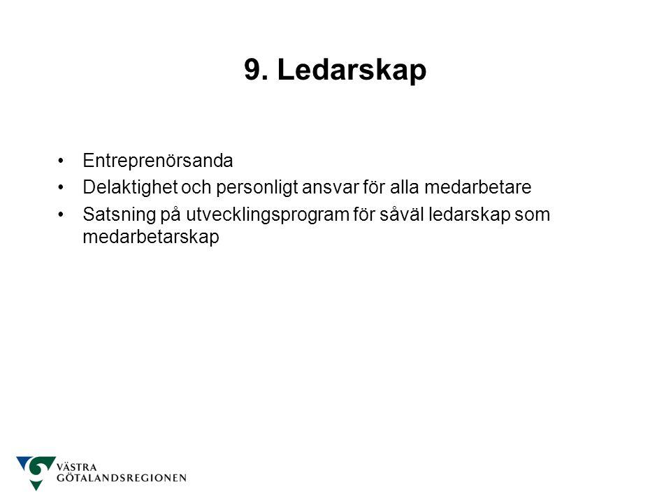 9. Ledarskap Entreprenörsanda Delaktighet och personligt ansvar för alla medarbetare Satsning på utvecklingsprogram för såväl ledarskap som medarbetar