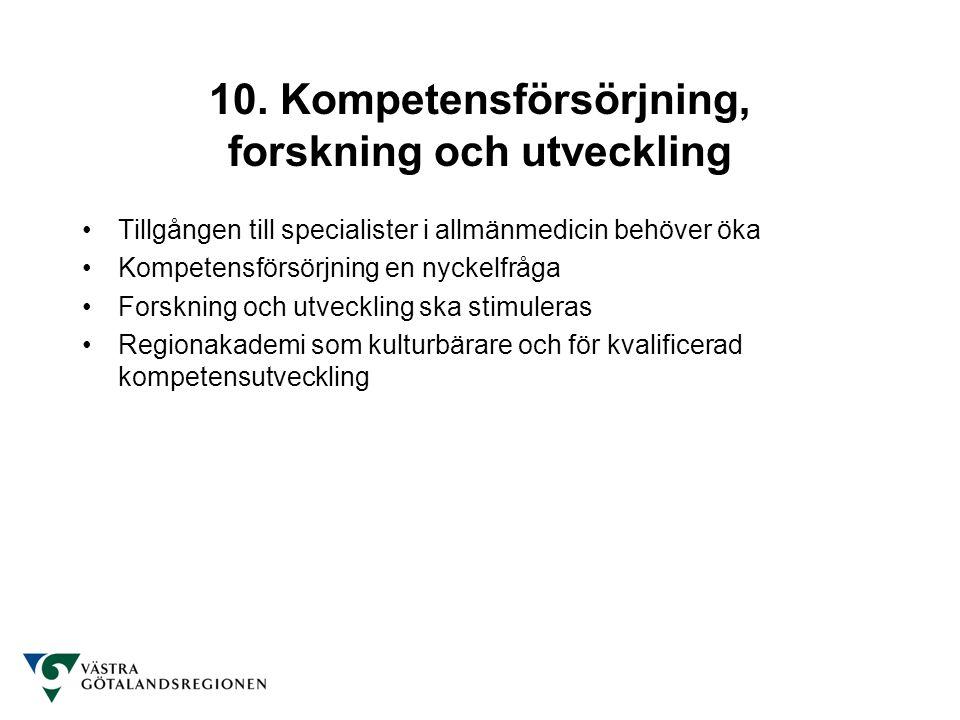 10. Kompetensförsörjning, forskning och utveckling Tillgången till specialister i allmänmedicin behöver öka Kompetensförsörjning en nyckelfråga Forskn