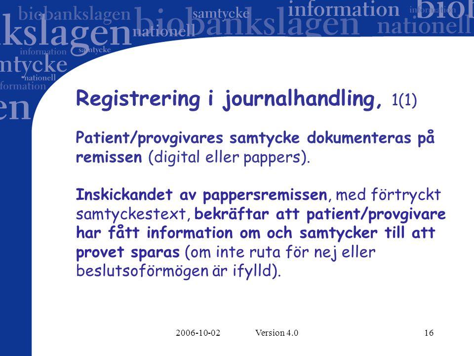 2006-10-02 Version 4.016 Registrering i journalhandling, 1(1) Patient/provgivares samtycke dokumenteras på remissen (digital eller pappers). Inskickan