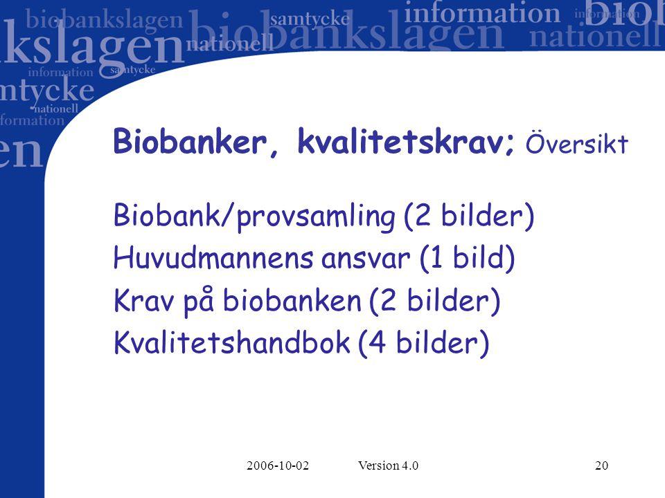 2006-10-02 Version 4.020 Biobanker, kvalitetskrav; Översikt Biobank/provsamling (2 bilder) Huvudmannens ansvar (1 bild) Krav på biobanken (2 bilder) Kvalitetshandbok (4 bilder)