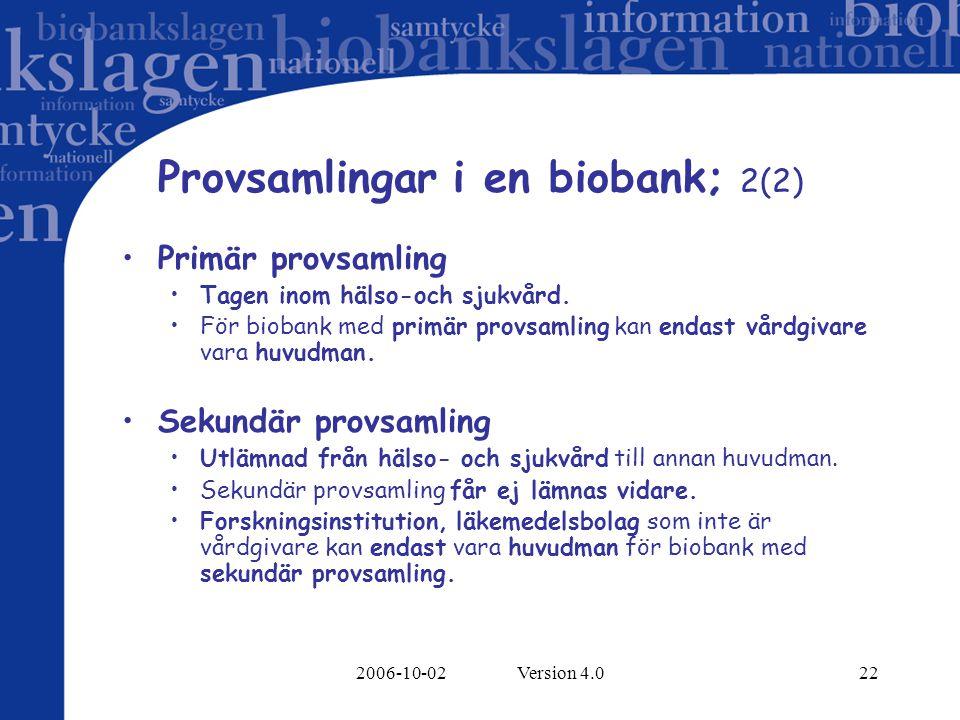 2006-10-02 Version 4.022 Provsamlingar i en biobank; 2(2) Primär provsamling Tagen inom hälso-och sjukvård. För biobank med primär provsamling kan end