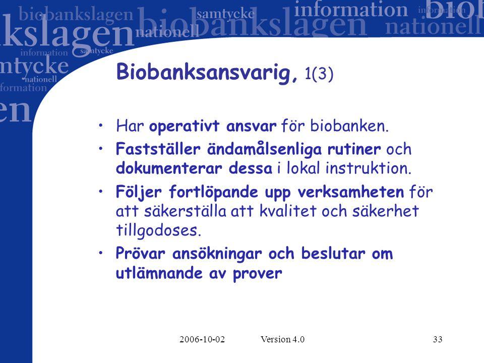 2006-10-02 Version 4.033 Biobanksansvarig, 1(3) Har operativt ansvar för biobanken. Fastställer ändamålsenliga rutiner och dokumenterar dessa i lokal