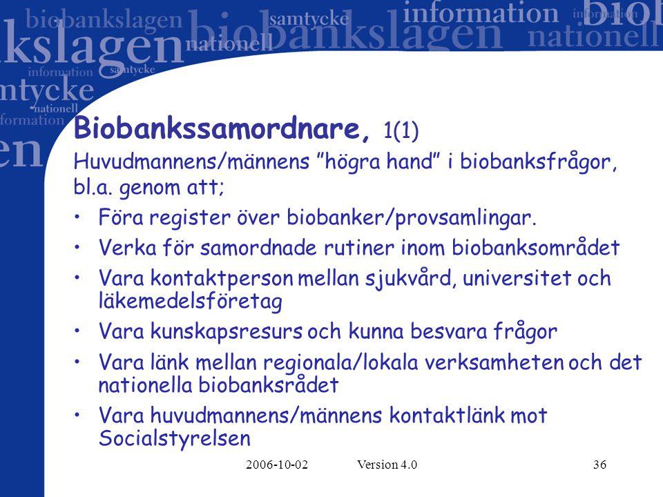 """2006-10-02 Version 4.036 Biobankssamordnare, 1(1) Huvudmannens/männens """"högra hand"""" i biobanksfrågor, bl.a. genom att; Föra register över biobanker/pr"""