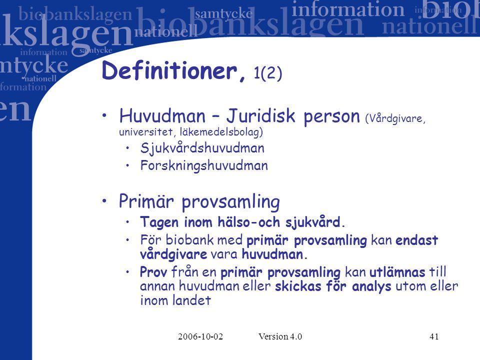2006-10-02 Version 4.041 Definitioner, 1(2) Huvudman – Juridisk person (Vårdgivare, universitet, läkemedelsbolag) Sjukvårdshuvudman Forskningshuvudman Primär provsamling Tagen inom hälso-och sjukvård.