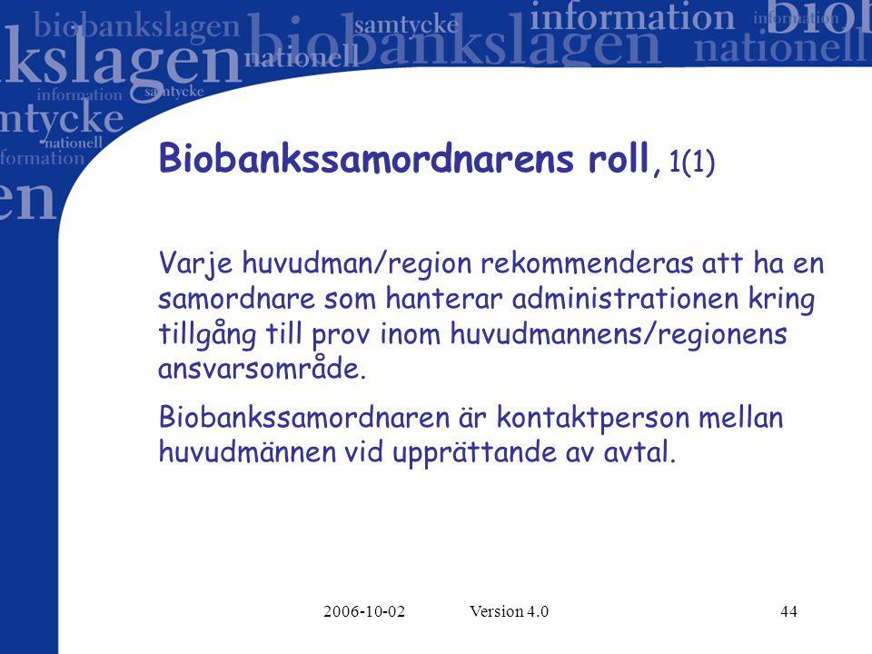 2006-10-02 Version 4.044 Biobankssamordnarens roll, 1(1) Varje huvudman/region rekommenderas att ha en samordnare som hanterar administrationen kring tillgång till prov inom huvudmannens/regionens ansvarsområde.
