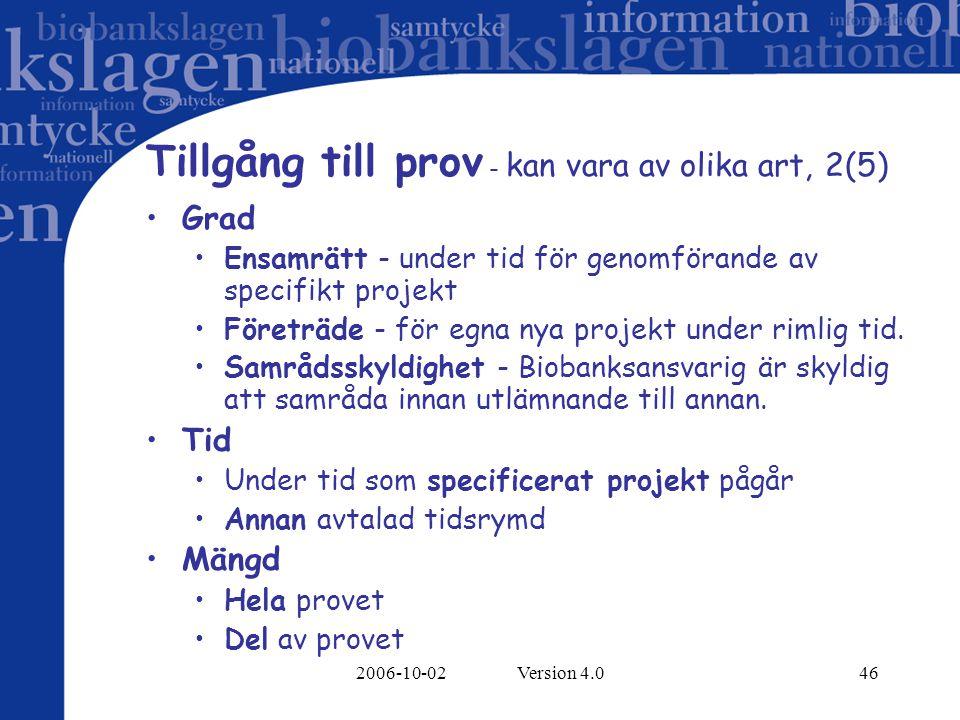 2006-10-02 Version 4.046 Tillgång till prov - kan vara av olika art, 2(5) Grad Ensamrätt - under tid för genomförande av specifikt projekt Företräde - för egna nya projekt under rimlig tid.
