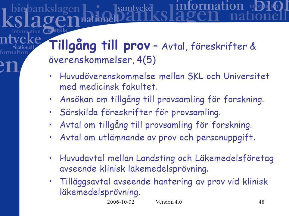 2006-10-02 Version 4.048 Tillgång till prov – Avtal, föreskrifter & överenskommelser, 4(5) Huvudöverenskommelse mellan SKL och Universitet med medicin