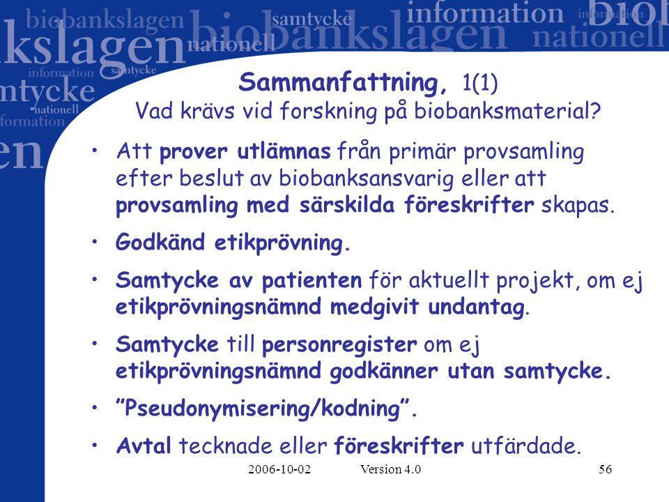 2006-10-02 Version 4.056 Sammanfattning, 1(1) Vad krävs vid forskning på biobanksmaterial? Att prover utlämnas från primär provsamling efter beslut av