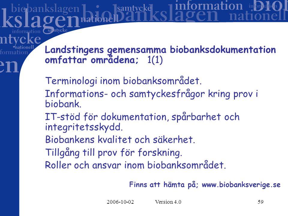 2006-10-02 Version 4.059 Landstingens gemensamma biobanksdokumentation omfattar områdena; 1(1) Terminologi inom biobanksområdet. Informations- och sam