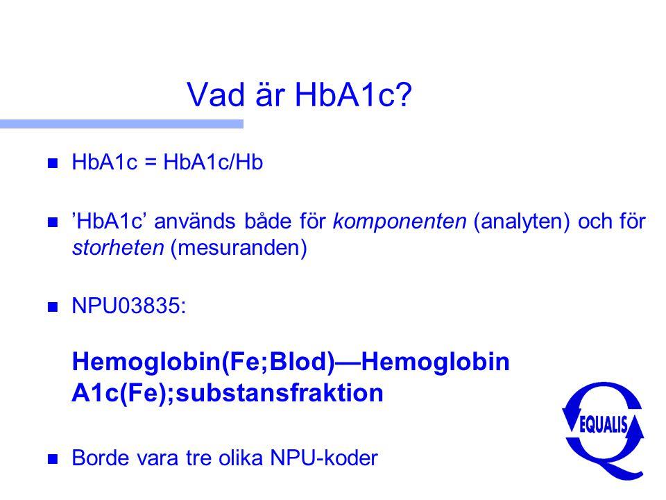 Tre olika 'HbA1c' ( Designated Comparison Methods ) n NGSP (DCCT) standardisation from USA n JDS/JSCC standardisation from Japan n Mono S standardisation from Sweden