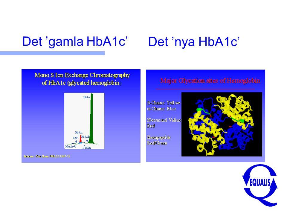 Omräkning och nya nivåer n IFCC (mmol/mol) = 10,45 x Mono S (%) – 10,62 n HbA1c (Mono S) = 5,0 % → 41 mmol/mol HbA1c (Mono S) = 6,0 % → 52 mmol/mol HbA1c (Mono S) = 7,0 % → 62 mmol/mol HbA1c (Mono S) = 8,0 % → 73 mmol/mol n Kvalitetsmål: Resultat inom +/- 4 (5) mmol/mol ?