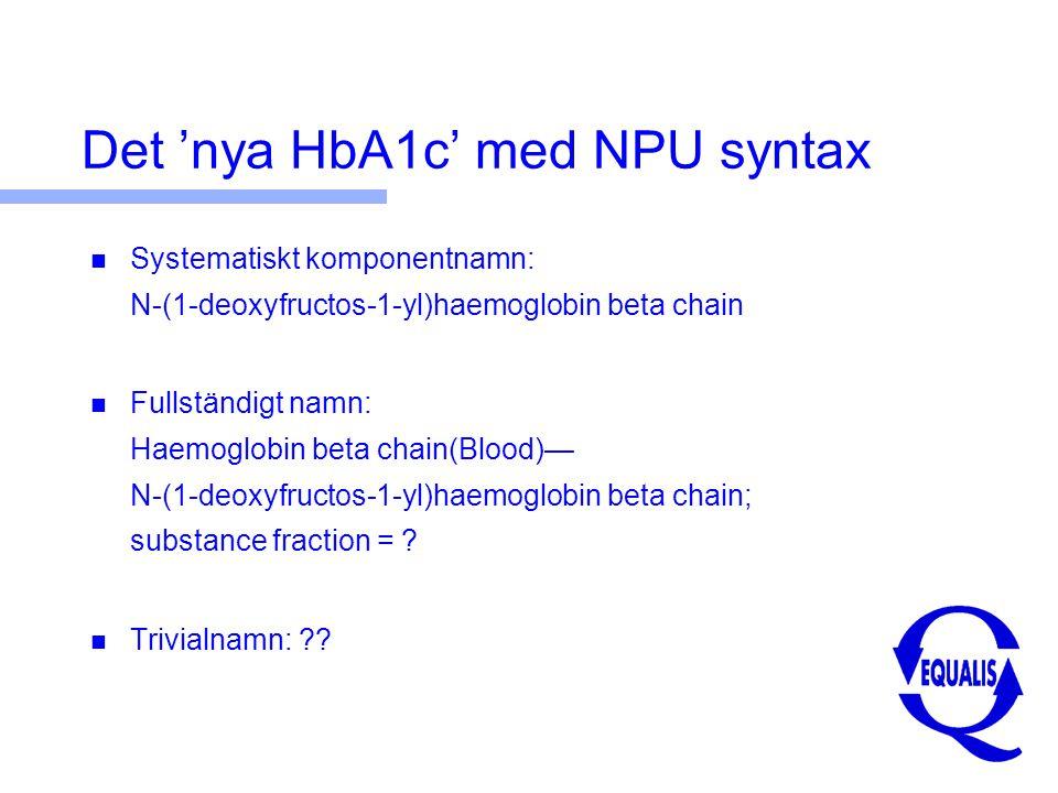Det nya HbA1c α β Deoxy fructosyl- β α 1 boll/4 spelare = 25% 1 boll/8  en = 12,5 % 1 boll/16  rmar och  en = 6,2% ?