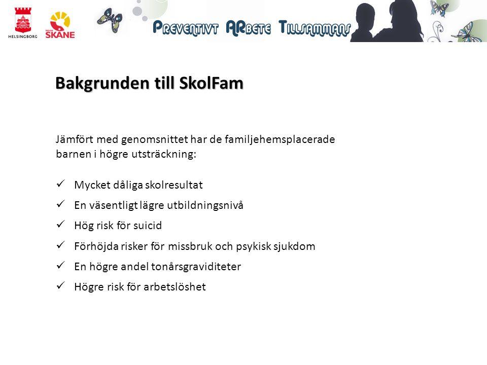 25 barn = 25 projekt 24 familjehem 22 skolor 2 kartläggningar/barn Kort fakta om SkolFam