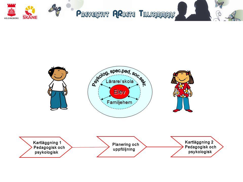 Psykologisk kartläggning Tester: WISC (begåvningskartläggning) VMI (visuell motorisk integration) Beck (bedömning av emotionell och social problematik) SDQ (skattning av styrkor och svårigheter) Relation mellan lärare och elev (känslomässigt/kunskapsmässigt)