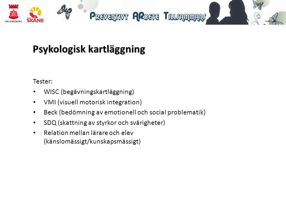 Psykologisk kartläggning Tester: WISC (begåvningskartläggning) VMI (visuell motorisk integration) Beck (bedömning av emotionell och social problematik