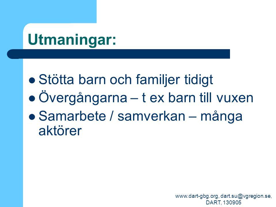 www.dart-gbg.org, dart.su@vgregion.se, DART, 130905 Utmaningar: Stötta barn och familjer tidigt Övergångarna – t ex barn till vuxen Samarbete / samver
