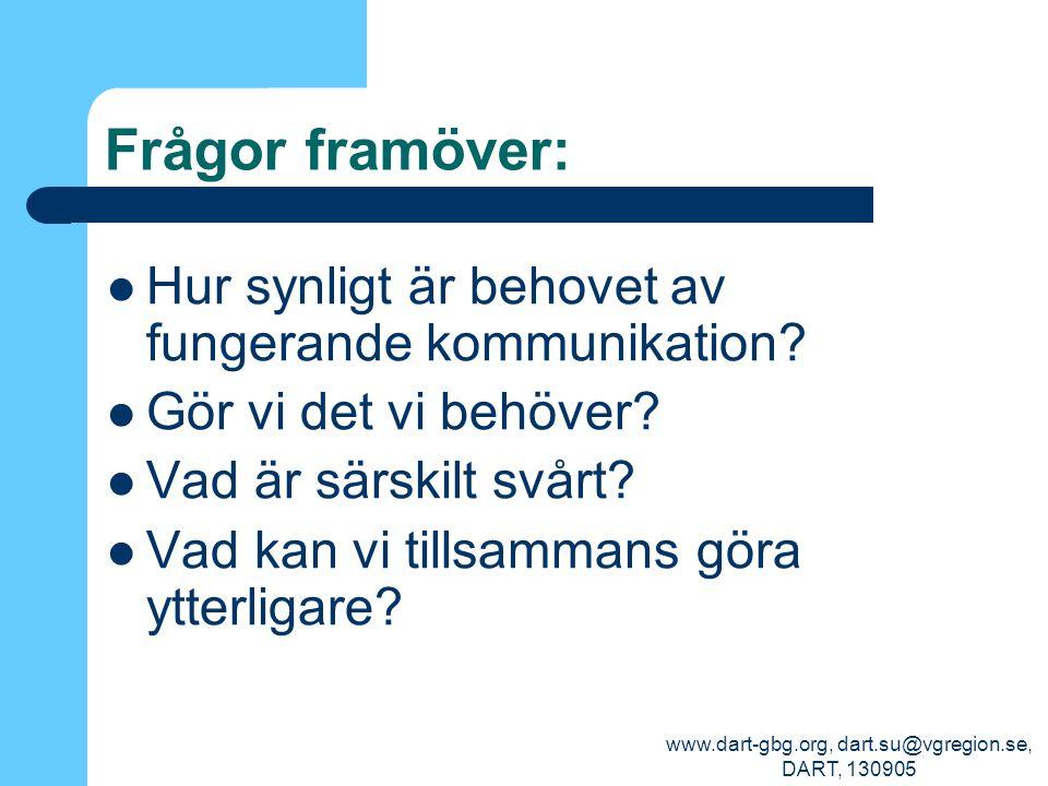 www.dart-gbg.org, dart.su@vgregion.se, DART, 130905 Frågor framöver: Hur synligt är behovet av fungerande kommunikation? Gör vi det vi behöver? Vad är