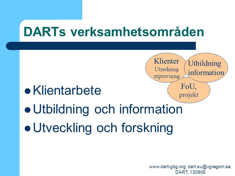 www.dart-gbg.org, dart.su@vgregion.se, DART, 130905 DARTs verksamhetsområden Klientarbete Utbildning och information Utveckling och forskning FoU, pro