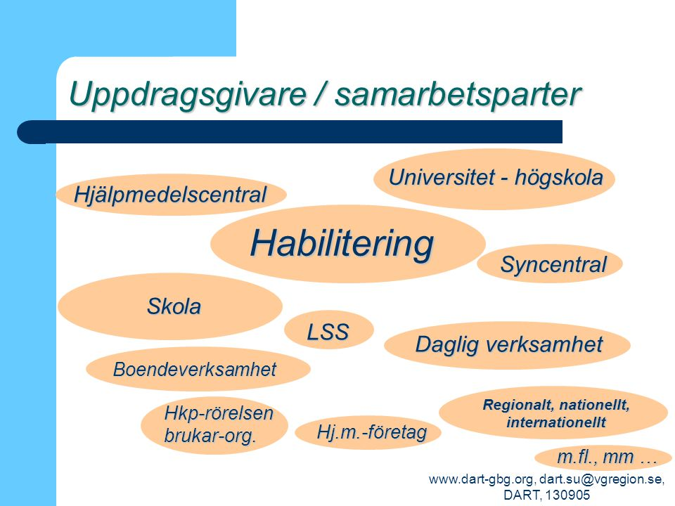 www.dart-gbg.org, dart.su@vgregion.se, DART, 130905 Uppdragsgivare / samarbetsparter Habilitering Skola Syncentral Boendeverksamhet Daglig verksamhet