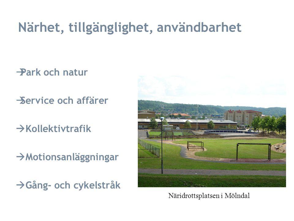 Närhet, tillgänglighet, användbarhet  Park och natur  Service och affärer  Kollektivtrafik  Motionsanläggningar  Gång- och cykelstråk Näridrottsplatsen i Mölndal