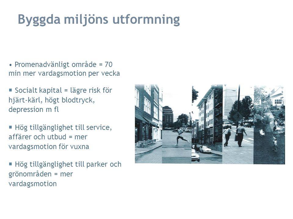 (O)Trygghet & (o)säkerhet: Trygghet i området är ofta avgörande för fysisk aktivitet utomhus, speciellt för barn, äldre och kvinnor Kriminalitet och oroligheter kan påverka negativt, men fortfarande dålig förståelse Bristfällig belysning Trafikvolym och höga hastigheter är de vanligaste orsakerna till att människor känner otrygghet Åtgärder i den byggda miljön kan kraftigt öka säkerhet och trygghet: Bättre belysning, siktlinjer, trafikseparerade gång- och cykelbanor, hastighetsreducerande åtgärder