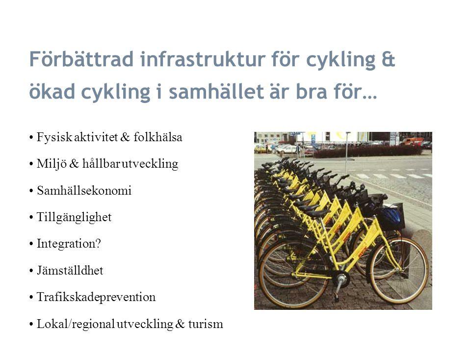 Förbättrad infrastruktur för cykling & ökad cykling i samhället är bra för… Fysisk aktivitet & folkhälsa Miljö & hållbar utveckling Samhällsekonomi Tillgänglighet Integration.