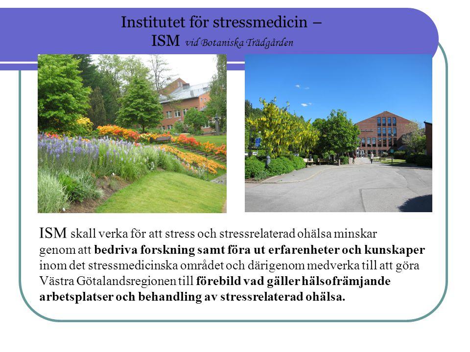 ISM skall verka för att stress och stressrelaterad ohälsa minskar genom att bedriva forskning samt föra ut erfarenheter och kunskaper inom det stressmedicinska området och därigenom medverka till att göra Västra Götalandsregionen till förebild vad gäller hälsofrämjande arbetsplatser och behandling av stressrelaterad ohälsa.