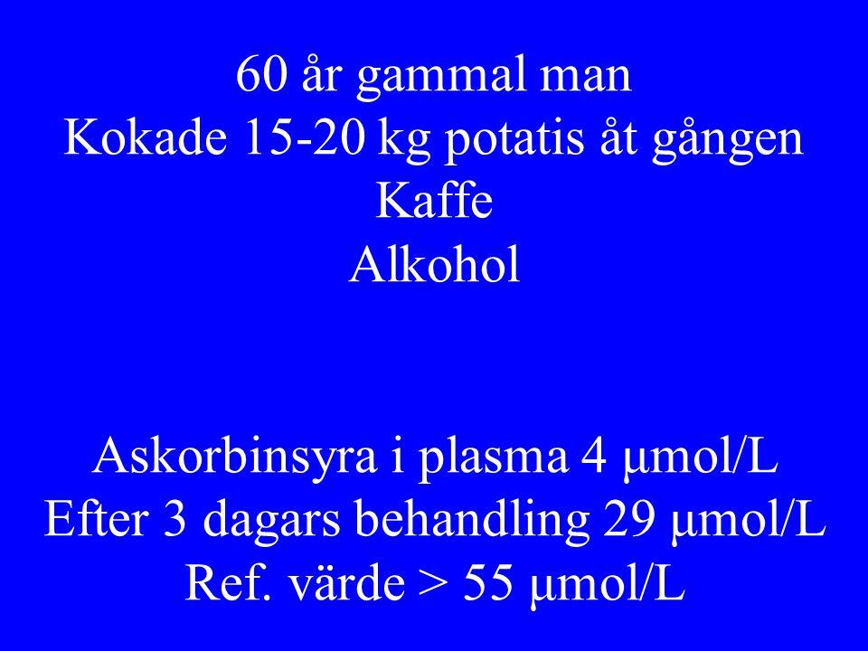 60 år gammal man Kokade 15-20 kg potatis åt gången Kaffe Alkohol Askorbinsyra i plasma 4 μmol/L Efter 3 dagars behandling 29 μmol/L Ref. värde > 55 μm