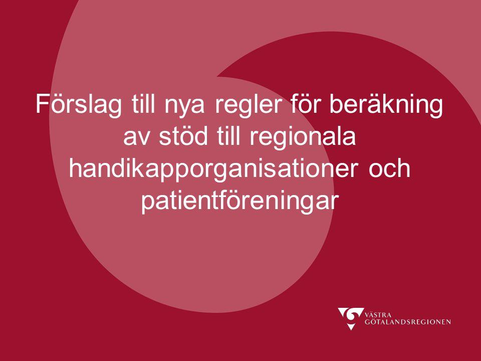 Förslag till nya regler för beräkning av stöd till regionala handikapporganisationer och patientföreningar