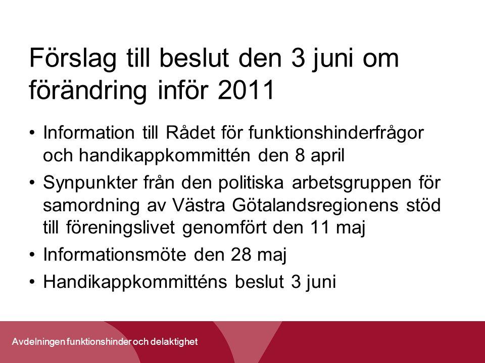 Avdelningen funktionshinder och delaktighet Förslag till beslut den 3 juni om förändring inför 2011 Information till Rådet för funktionshinderfrågor o