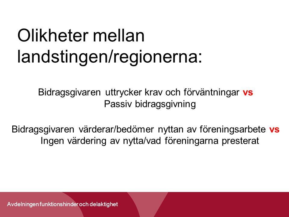 Avdelningen funktionshinder och delaktighet Olikheter mellan landstingen/regionerna: Bidragsgivaren uttrycker krav och förväntningar vs Passiv bidrags