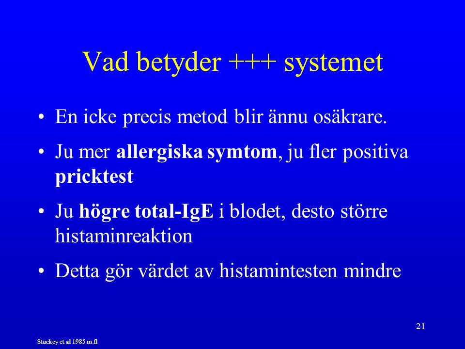 21 Vad betyder +++ systemet En icke precis metod blir ännu osäkrare. Ju mer allergiska symtom, ju fler positiva pricktest Ju högre total-IgE i blodet,