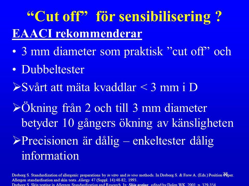 """28 EAACI rekommenderar 3 mm diameter som praktisk """"cut off"""" och Dubbeltester  Svårt att mäta kvaddlar < 3 mm i D  Ökning från 2 och till 3 mm diamet"""