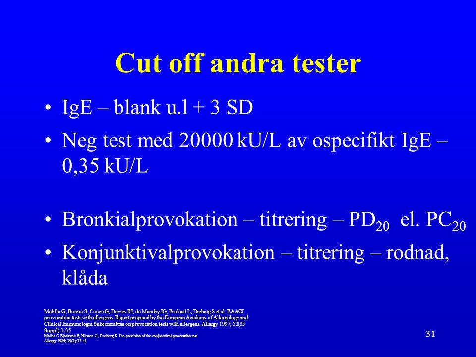 31 Cut off andra tester IgE – blank u.l + 3 SD Neg test med 20000 kU/L av ospecifikt IgE – 0,35 kU/L Bronkialprovokation – titrering – PD 20 el. PC 20