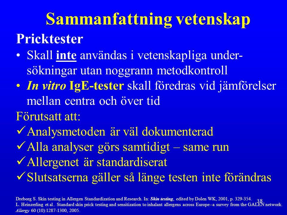 38 Pricktester Skall inte användas i vetenskapliga under- sökningar utan noggrann metodkontroll In vitro IgE-tester skall föredras vid jämförelser mel