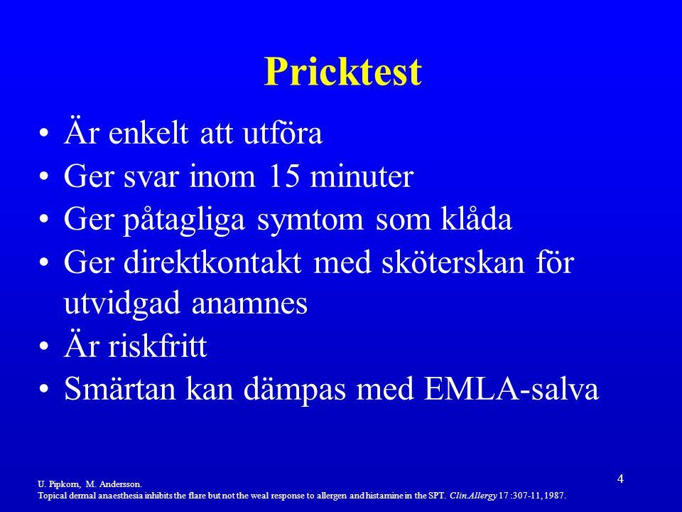 4 Är enkelt att utföra Ger svar inom 15 minuter Ger påtagliga symtom som klåda Ger direktkontakt med sköterskan för utvidgad anamnes Är riskfritt Smär